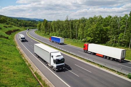 フォレスト間アスファルトの道路を走るトラック。緑豊かな山を背景に。上からの眺め。晴れた夏の日。