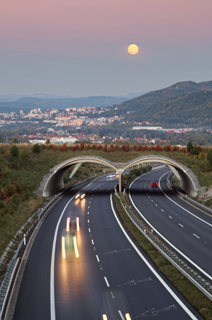 Twilight over the asphalt highway with ecoduct in the landscape. The rising full moon on rosy sky over the city in the distance. Light path headlights cars traveling on the highway. Forested mountains in the background. View from above. Town of Carlsbad i