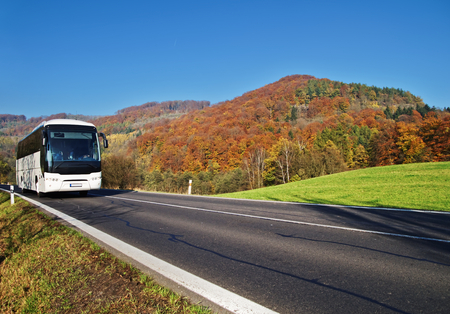 White Bus arriving at the asphalt road through the valley below the wooded mountain of glowing autumn colors. Clear sunny day with blue skies.