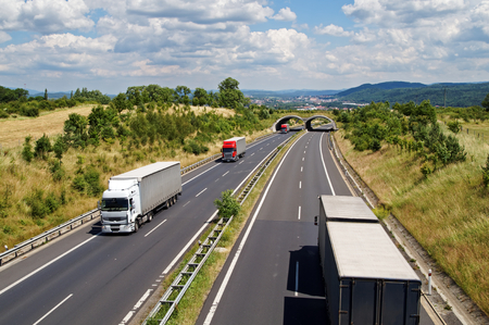 Trucks traveling the highway corridor with ecoduct. City and forested mountains in the background. Sunny summer day. View from above.