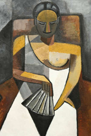 cubism oil painting of woman with white dress sitting in chair photo