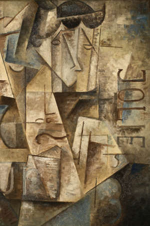 paintings: abstarct cubism oil painting jolie in blue and gray