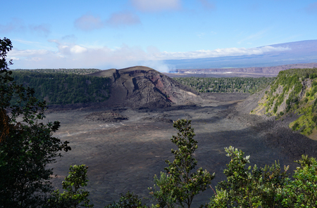 View of the Kilaueau Iki volcanic crater Stock Photo
