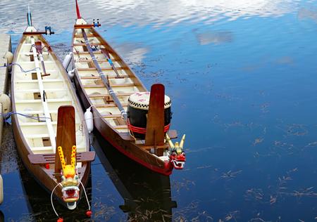 Barcos dragón de teca Foto de archivo - 76704072
