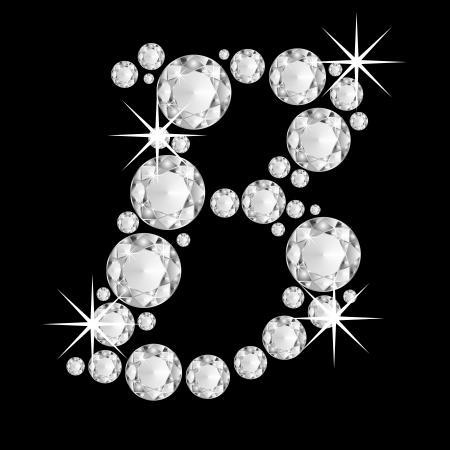 Luxury jewelry alphabet or font with diamonds on black background  letter B Standard-Bild