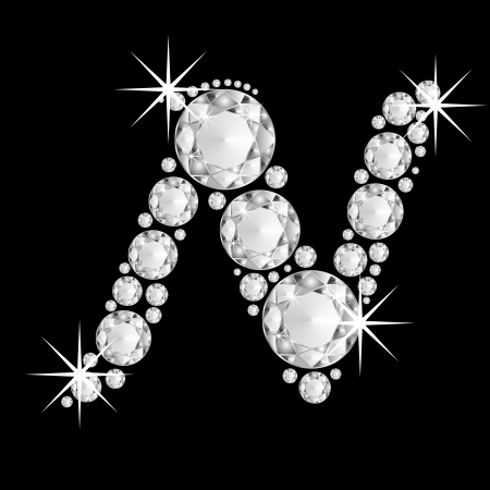 silver jewellery: Luxury jewelry alphabet or font with diamonds on black background. letter N