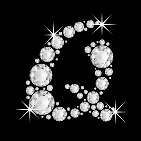 Luxury jewelry alphabet or font with diamonds on black background. letter Q
