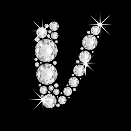 Luxury jewelry alphabet or font with diamonds on black background. letter V