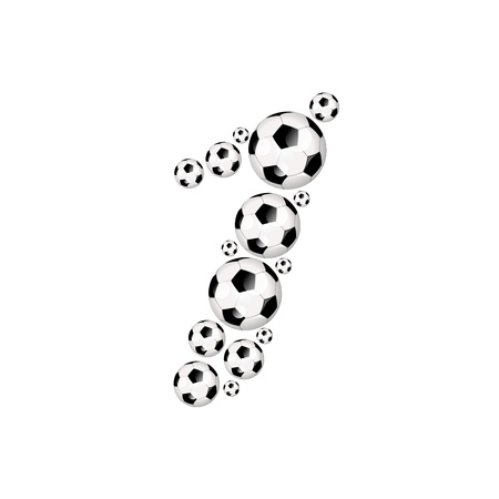 Soccer alphabet number 1 illustration icon with soccer or footballs illustration