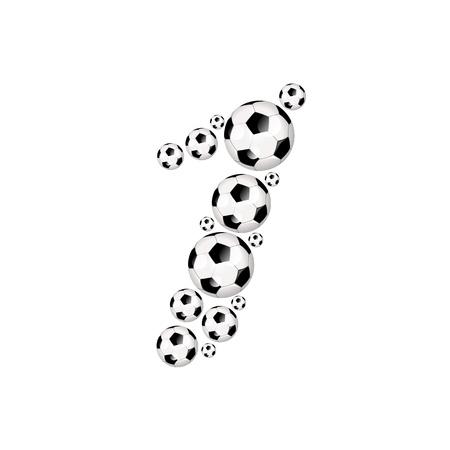 soccer wm: Soccer alphabet number 1 illustration icon with soccer or footballs