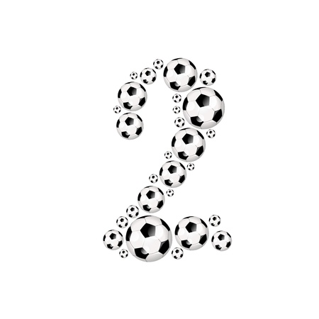 soccer wm: Soccer alphabet number 2 illustration icon with soccer or footballs Stock Photo