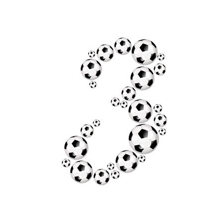 soccer wm: Soccer alphabet number 3 illustration icon with soccer or footballs