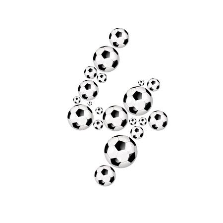 soccer wm: Soccer alphabet number 4 illustration icon with soccer or footballs