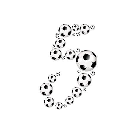 soccer wm: Soccer alphabet number 5 illustration icon with soccer or footballs