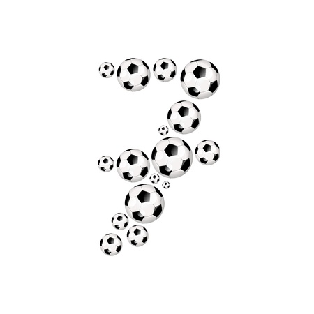 Soccer alphabet number 7 illustration icon with soccer or footballs illustration