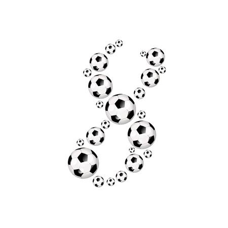soccer wm: Soccer alphabet number 8 illustration icon with soccer or footballs