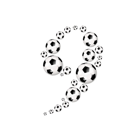 soccer wm: Soccer alphabet number 9 illustration icon with soccer or footballs Stock Photo