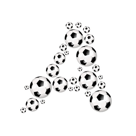 Soccer alphabet letter A illustration icon with soccer or footballs