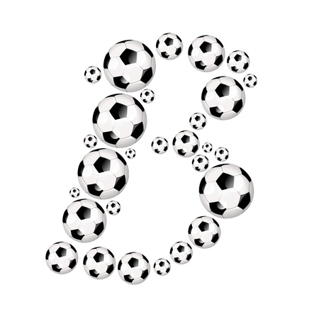 soccer wm: Soccer alphabet letter B illustration icon with soccer or footballs