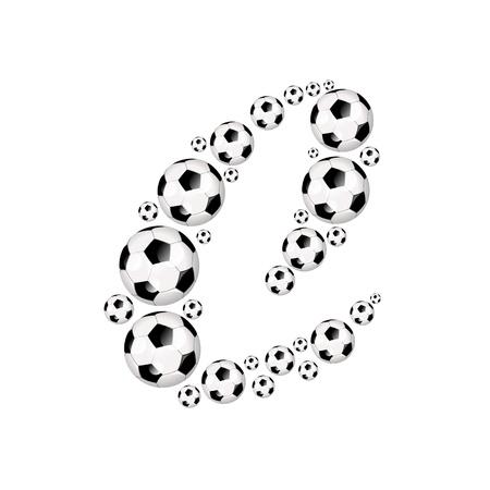 soccer wm: Soccer alphabet letter C illustration icon with soccer or footballs