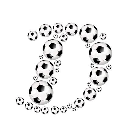 soccer wm: Soccer alphabet letter D illustration icon with soccer or footballs