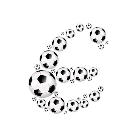 soccer wm: Soccer alphabet letter E illustration icon with soccer or footballs