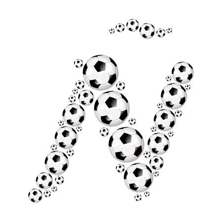 soccer wm: Soccer alphabet letter Ñ illustration icon with soccer or footballs
