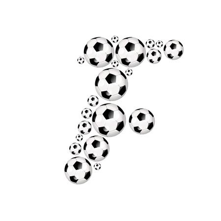soccer wm: Soccer alphabet letter F illustration icon with soccer or footballs
