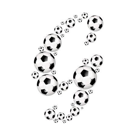 soccer wm: Soccer alphabet letter G illustration icon with soccer or footballs
