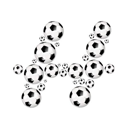 soccer wm: Soccer alphabet letter H illustration icon with soccer or footballs