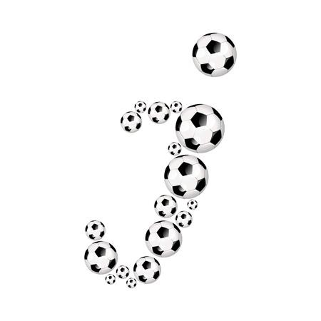 soccer wm: Soccer alphabet letter I illustration icon with soccer or footballs
