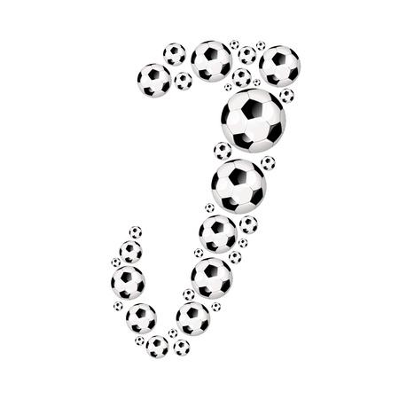Soccer alphabet letter J illustration icon with soccer or footballs