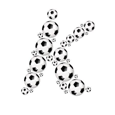 soccer wm: Soccer alphabet letter K illustration icon with soccer or footballs Stock Photo