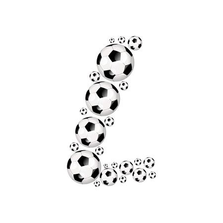 soccer wm: Soccer alphabet letter L illustration icon with soccer or footballs