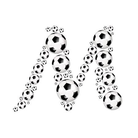 soccer wm: Soccer alphabet letter M illustration icon with soccer or footballs