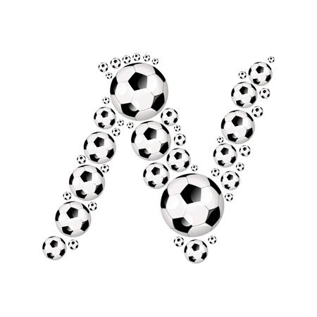 soccer wm: Soccer alphabet letter N illustration icon with soccer or footballs