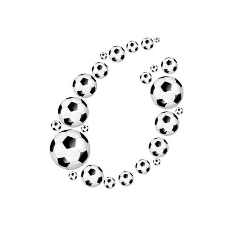 soccer wm: F�tbol carta ic�nico O alfabeto con el f�tbol o pelotas de f�tbol