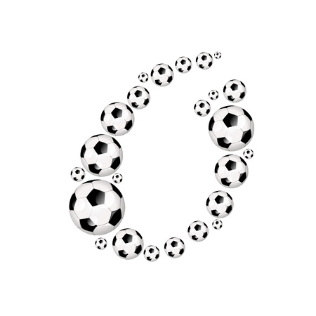 Soccer alphabet letter O illustration icon with soccer or footballs illustration