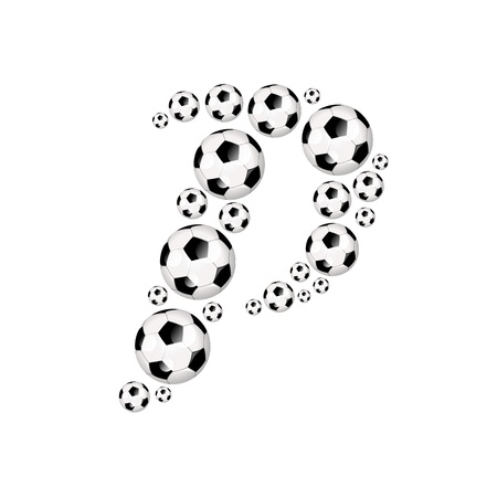 soccer wm: Soccer alphabet letter P illustration icon with soccer or footballs Stock Photo