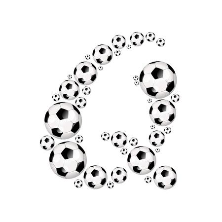soccer wm: Soccer alphabet letter Q illustration icon with soccer or footballs