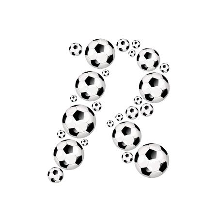 soccer wm: F�tbol alfabeto letra R ic�nico con el f�tbol o pelotas de f�tbol