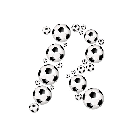 Soccer alphabet letter R illustration icon with soccer or footballs illustration