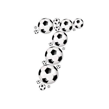 soccer wm: Soccer alphabet letter T illustration icon with soccer or footballs