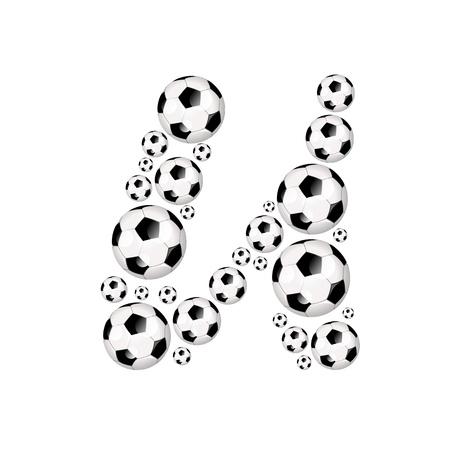 soccer wm: Soccer alphabet letter U illustration icon with soccer or footballs