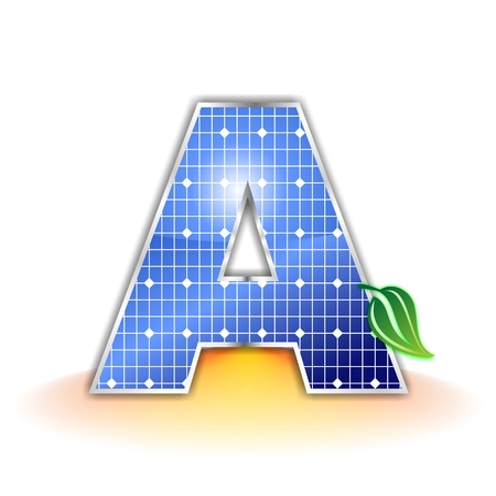 solar panels texture, alphabet letter A icon or symbol