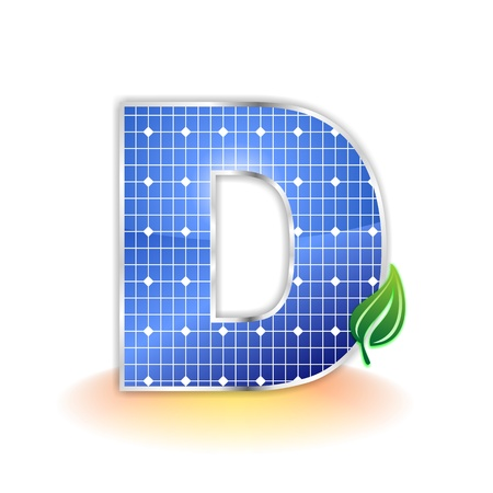 zonnepanelen textuur, alfabet hoofdletter D of symbool