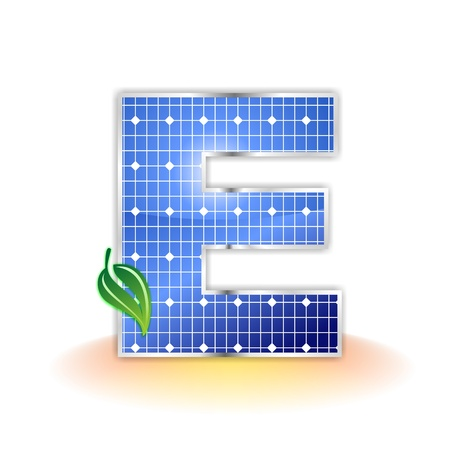 solar panels texture, alphabet capital letter E icon or symbol Stock Photo