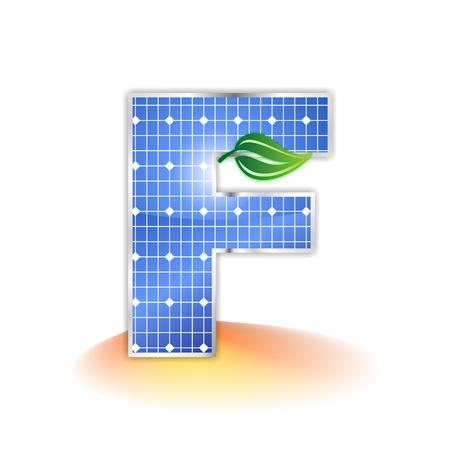 solar panels texture, alphabet capital letter F icon or symbol