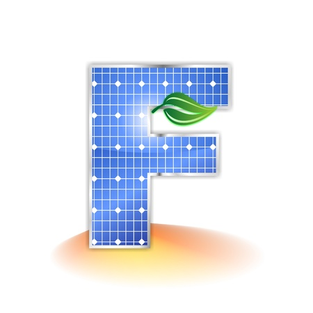 solar panels texture, alphabet capital letter F icon or symbol