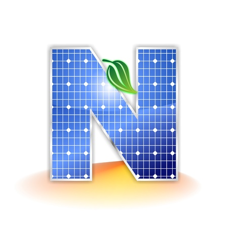 solar panels texture, alphabet capital letter N icon or symbol